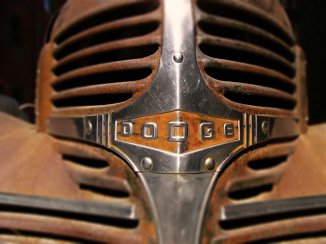 beautiful close-up shot of the grill from an old Dodge truck